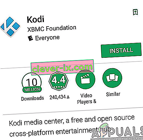 Installere Kodi-appen fra Google Play Store