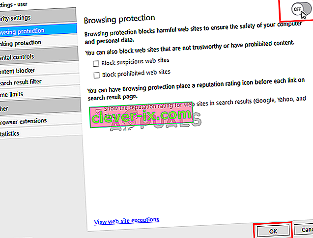 Slå av F-Secure Safe Browsing Protection